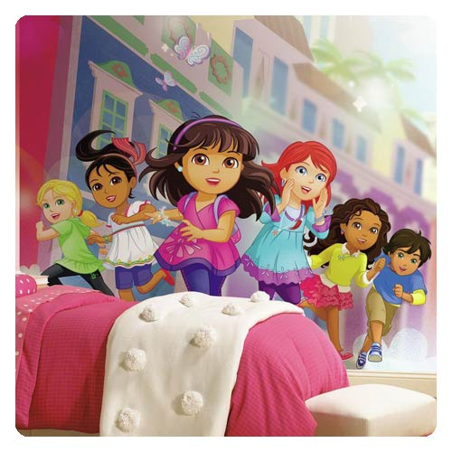 Dora and Friends Chair Rail Giant Ultra-Strippable Prepasted Mural