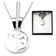 Star Wars Rogue One Rebel Alliance and Galactic Empire Symbol Cut Out Stainless Steel Best Friend Necklace Set
