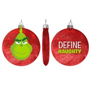 The Grinch Define Naughty 100mm Red Disc Ornament