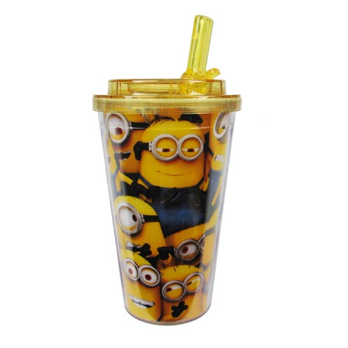 Despicable Me Cluttered Minions Plastic 16 oz. Flip-Straw Travel Cup