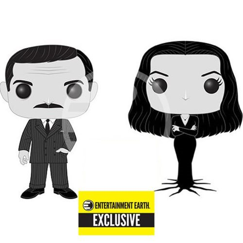 Addams Family Morticia and Gomez Black-and-White Pop! Vinyl Figure 2-Pack - Entertainment Earth Excl