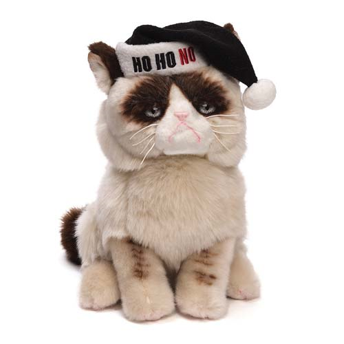 d9cd177aeb92b Grumpy Cat with Black Santa Hat Holiday Plush - Entertainment Earth