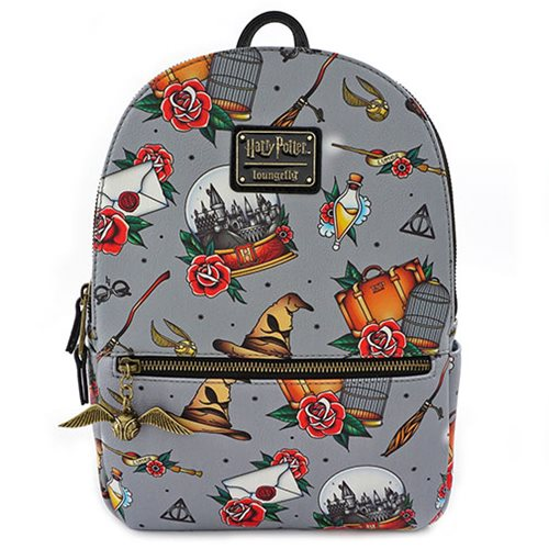 Harry Potter Relics Tattoo Print Mini Backpack Entertainment Earth