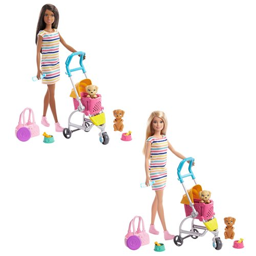 Barbie Stroll 'n Play Pups Doll and Accessories Case