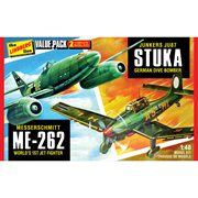 WWII German Fighters Junkers JU87 Stuka and Messershmitt ME262 2-Pack 1:48 Scale Model Kit