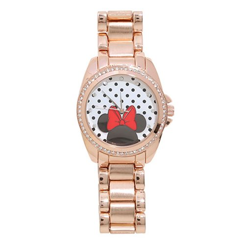 Minne Mouse Crystal and Rose Gold Colored Bracelet Watch
